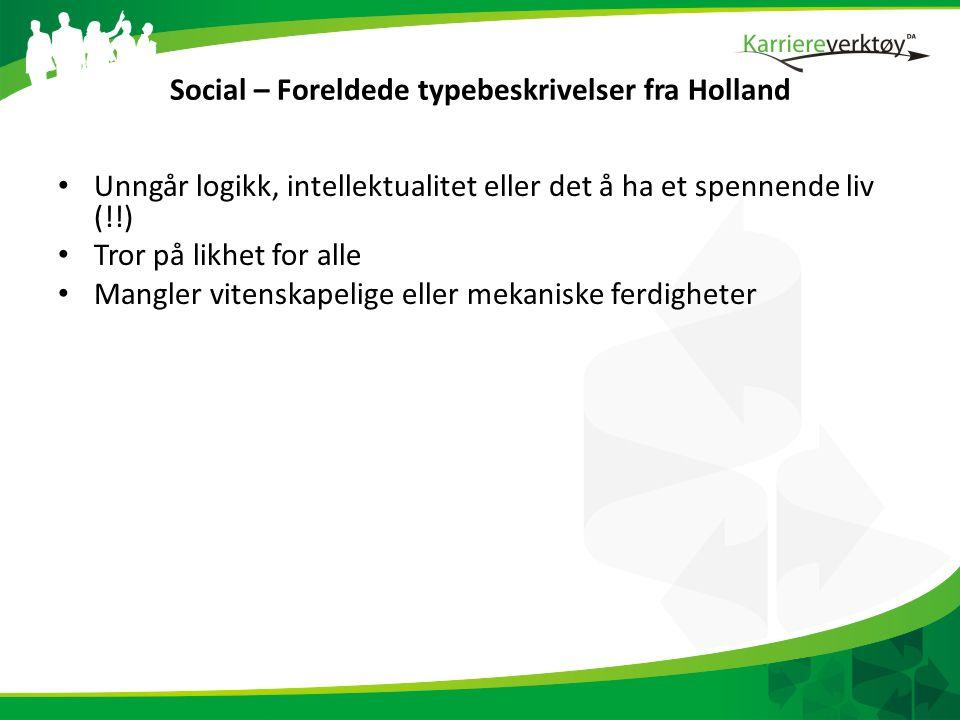 Social – Foreldede typebeskrivelser fra Holland