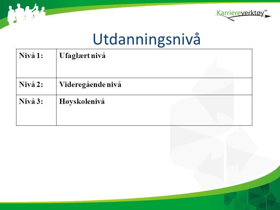 Utdanningsnivå Nivå 1: Ufaglært nivå Nivå 2: Videregående nivå Nivå 3: