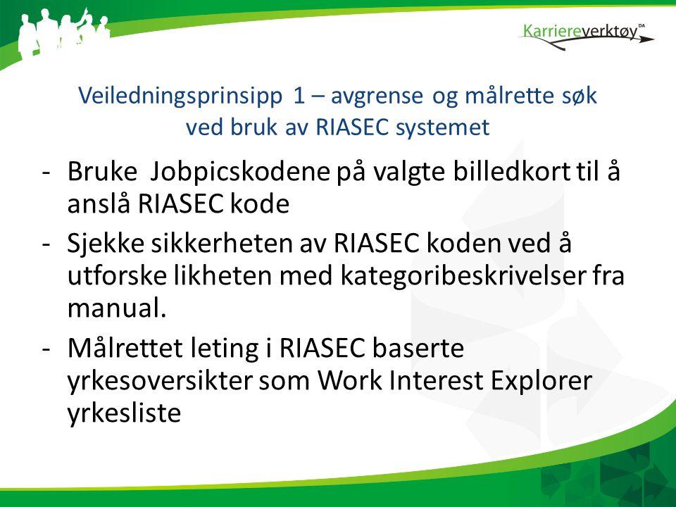 Bruke Jobpicskodene på valgte billedkort til å anslå RIASEC kode