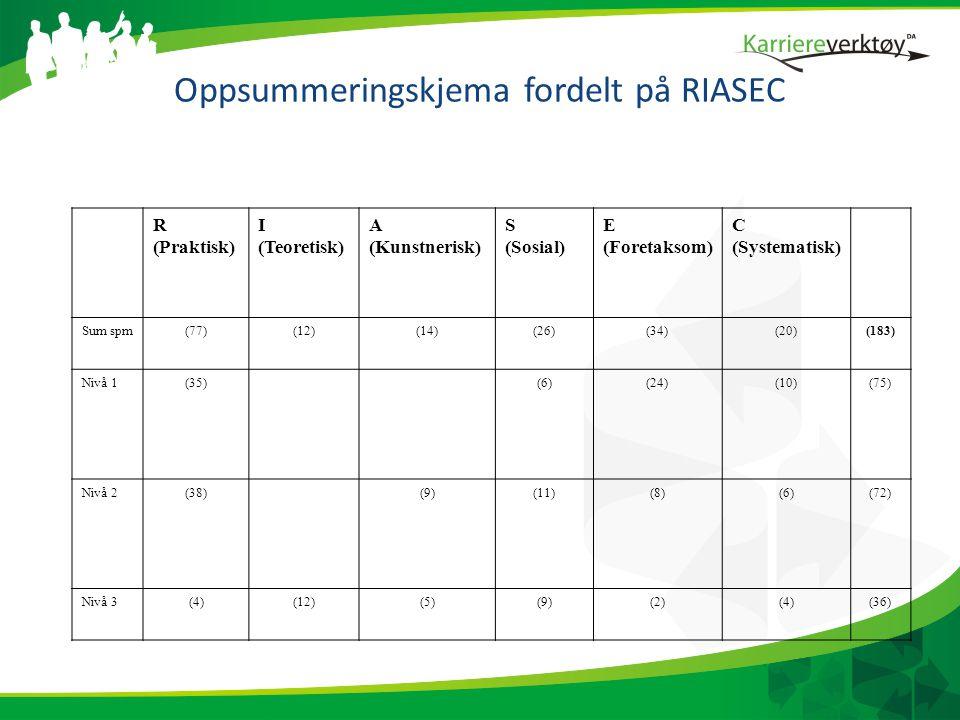 Oppsummeringskjema fordelt på RIASEC