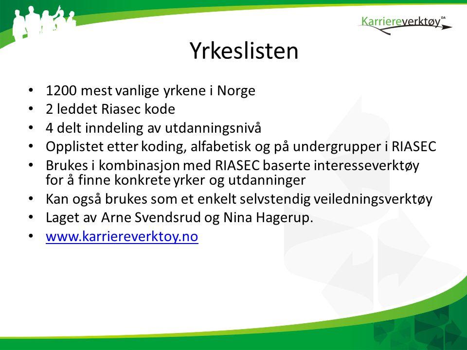 Yrkeslisten 1200 mest vanlige yrkene i Norge 2 leddet Riasec kode