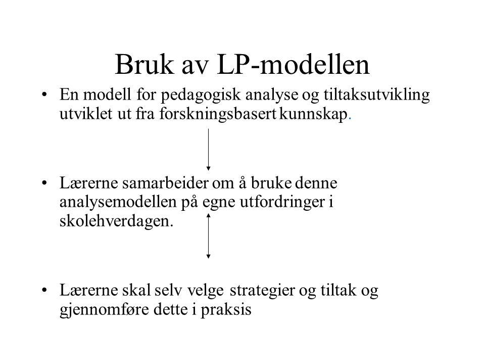Bruk av LP-modellen En modell for pedagogisk analyse og tiltaksutvikling utviklet ut fra forskningsbasert kunnskap.