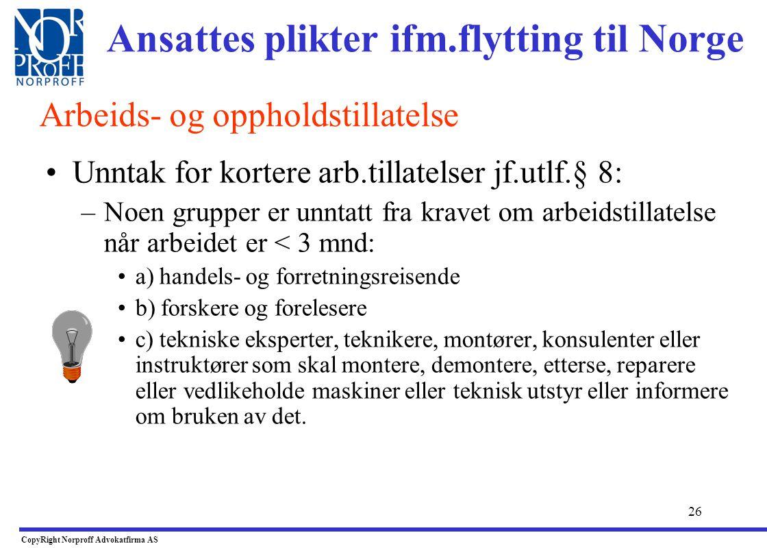 Ansattes plikter ifm.flytting til Norge