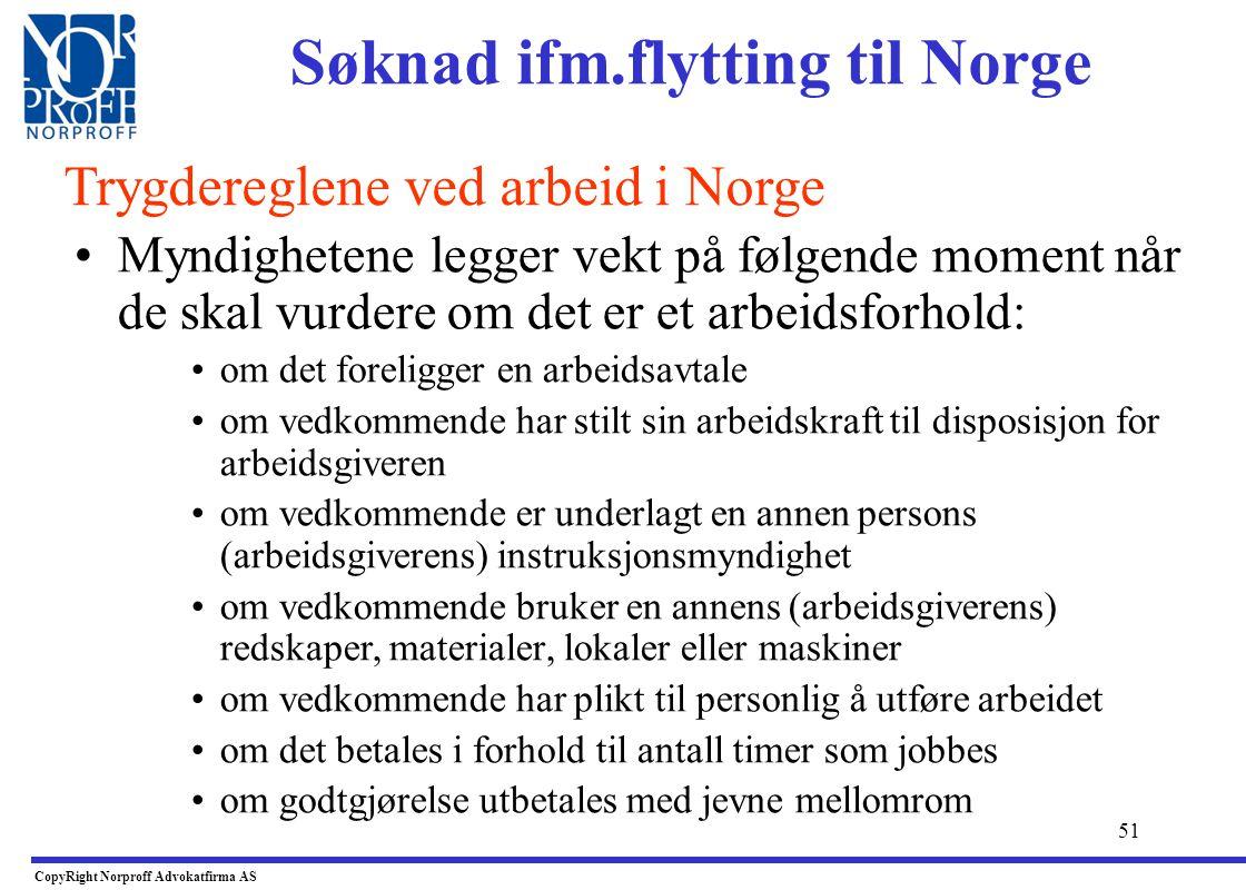 Søknad ifm.flytting til Norge