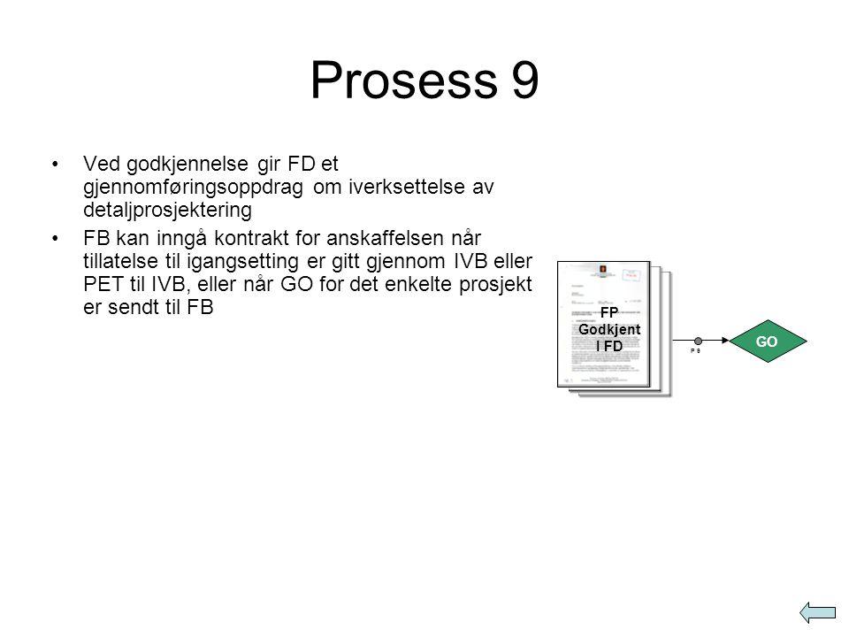 Prosess 9 Ved godkjennelse gir FD et gjennomføringsoppdrag om iverksettelse av detaljprosjektering.