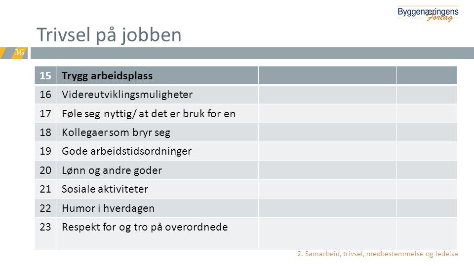 Trivsel på jobben 15 Trygg arbeidsplass 16 Videreutviklingsmuligheter