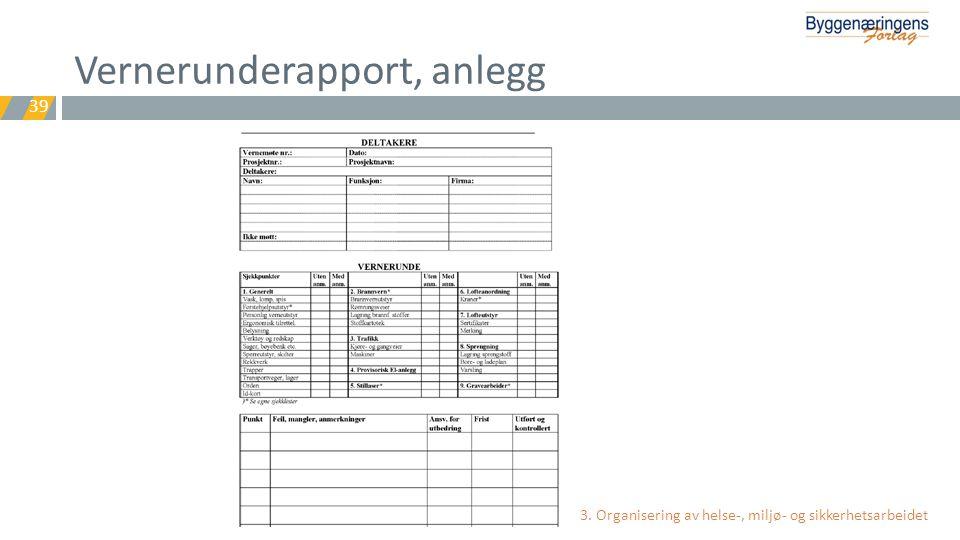 Vernerunderapport, anlegg