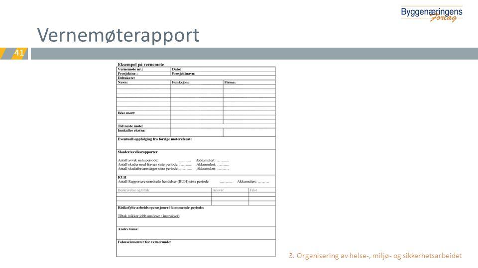 Vernemøterapport 3. Organisering av helse-, miljø- og sikkerhetsarbeidet