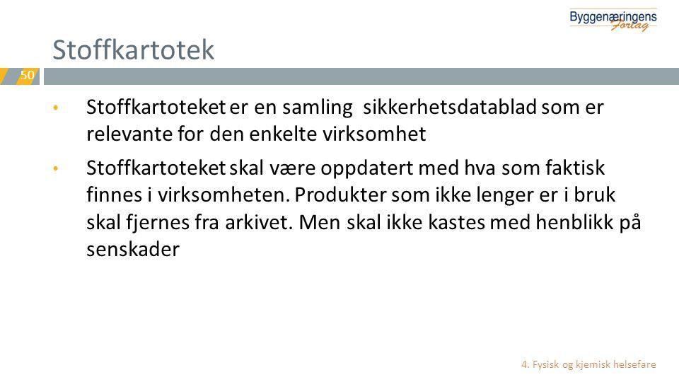 Stoffkartotek Stoffkartoteket er en samling sikkerhetsdatablad som er relevante for den enkelte virksomhet.