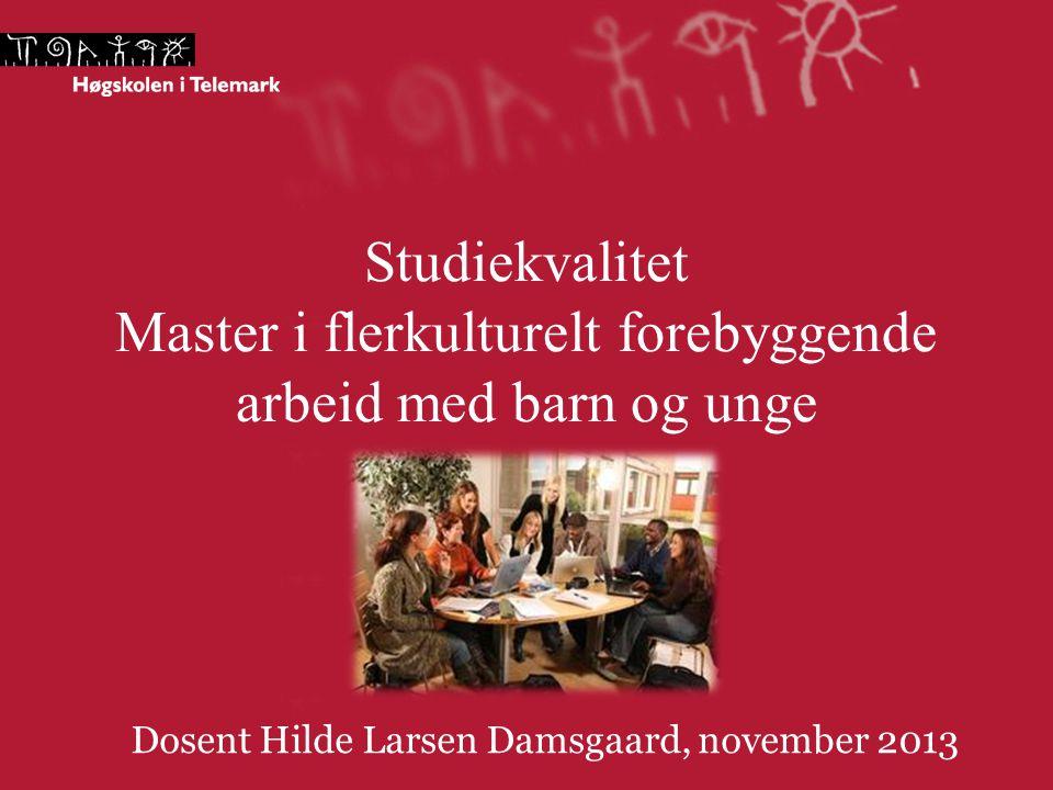 Studiekvalitet Master i flerkulturelt forebyggende arbeid med barn og unge