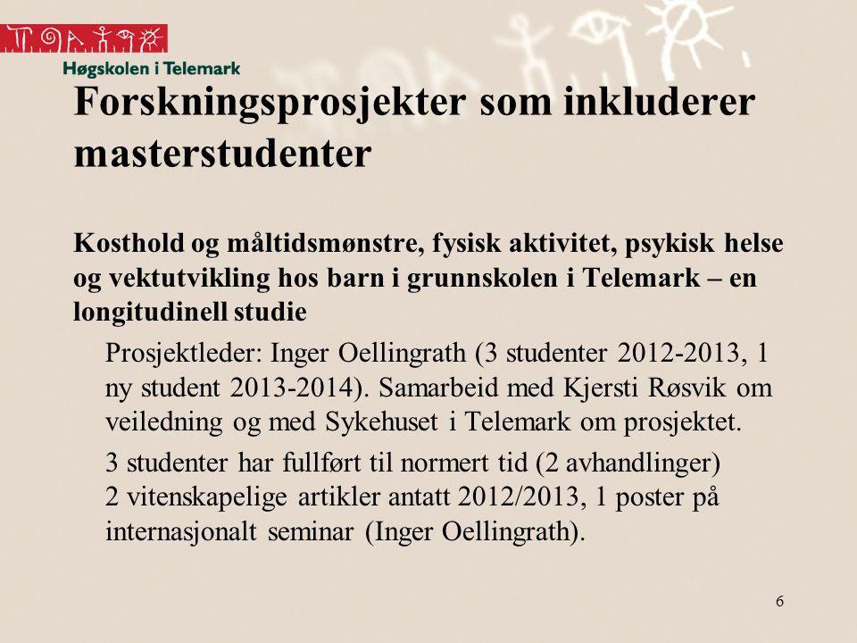 Forskningsprosjekter som inkluderer masterstudenter