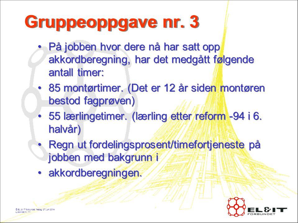 Gruppeoppgave nr. 3 På jobben hvor dere nå har satt opp akkordberegning, har det medgått følgende antall timer: