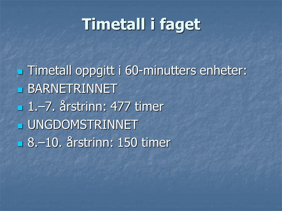 Timetall i faget Timetall oppgitt i 60-minutters enheter: BARNETRINNET