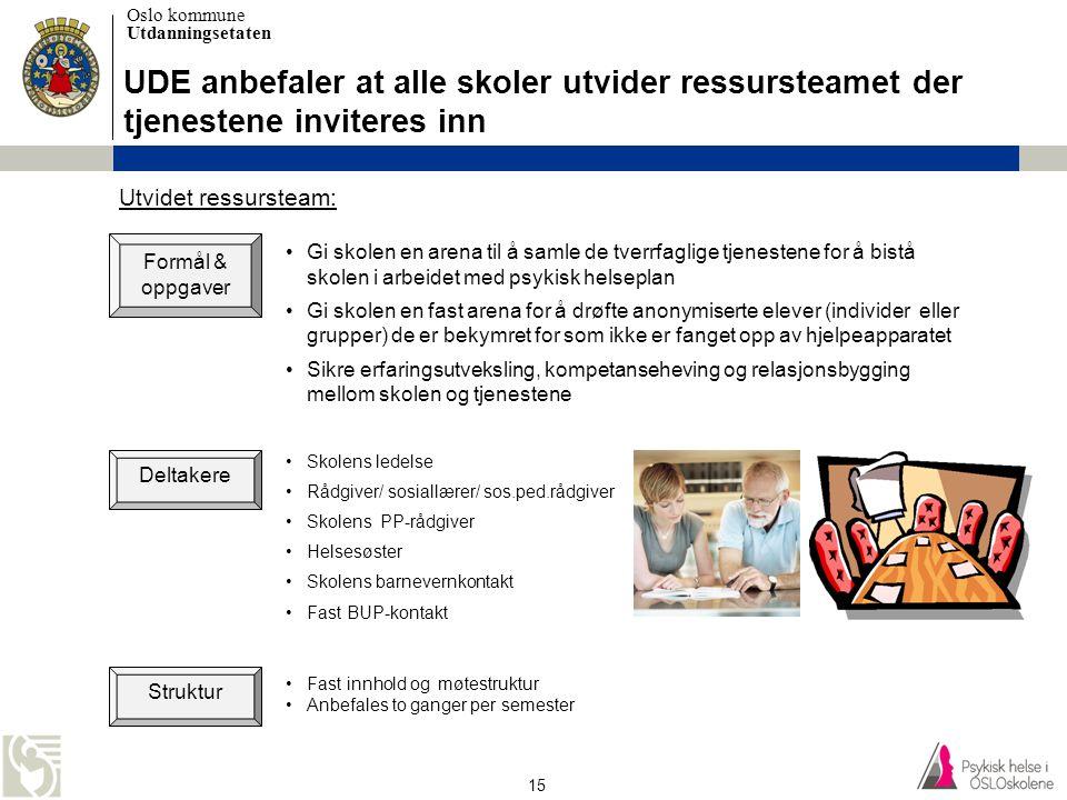 UDE anbefaler at alle skoler utvider ressursteamet der tjenestene inviteres inn