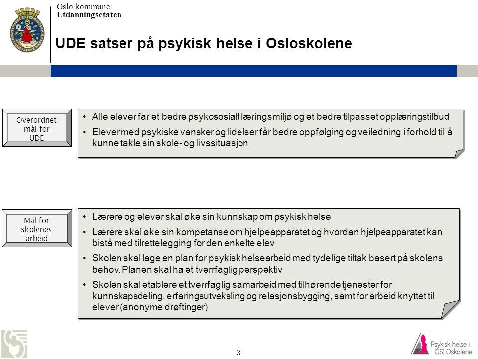 UDE satser på psykisk helse i Osloskolene