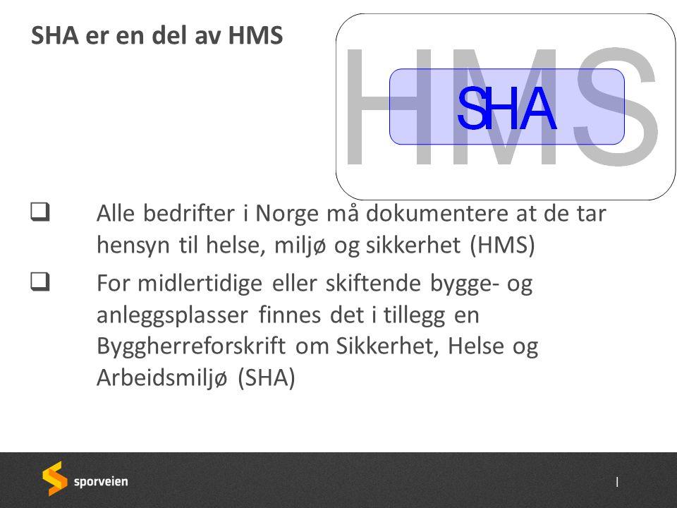 SHA er en del av HMS Alle bedrifter i Norge må dokumentere at de tar hensyn til helse, miljø og sikkerhet (HMS)