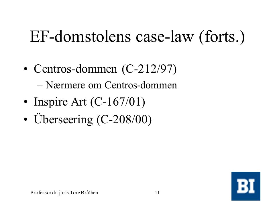EF-domstolens case-law (forts.)
