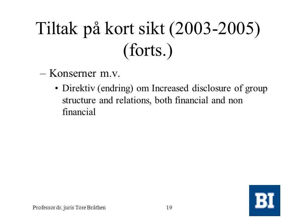 Tiltak på kort sikt (2003-2005) (forts.)