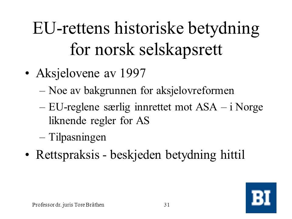 EU-rettens historiske betydning for norsk selskapsrett