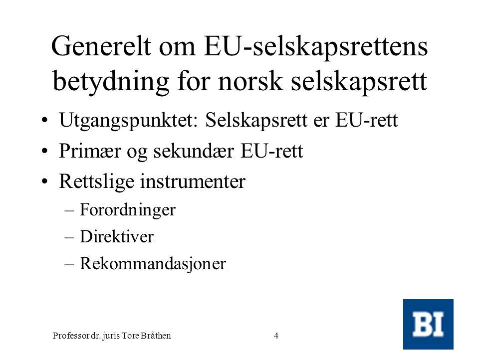 Generelt om EU-selskapsrettens betydning for norsk selskapsrett