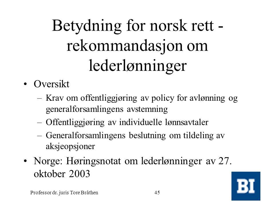 Betydning for norsk rett - rekommandasjon om lederlønninger
