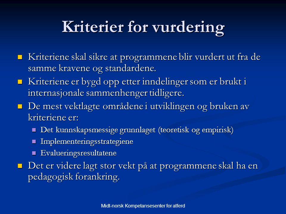 Kriterier for vurdering