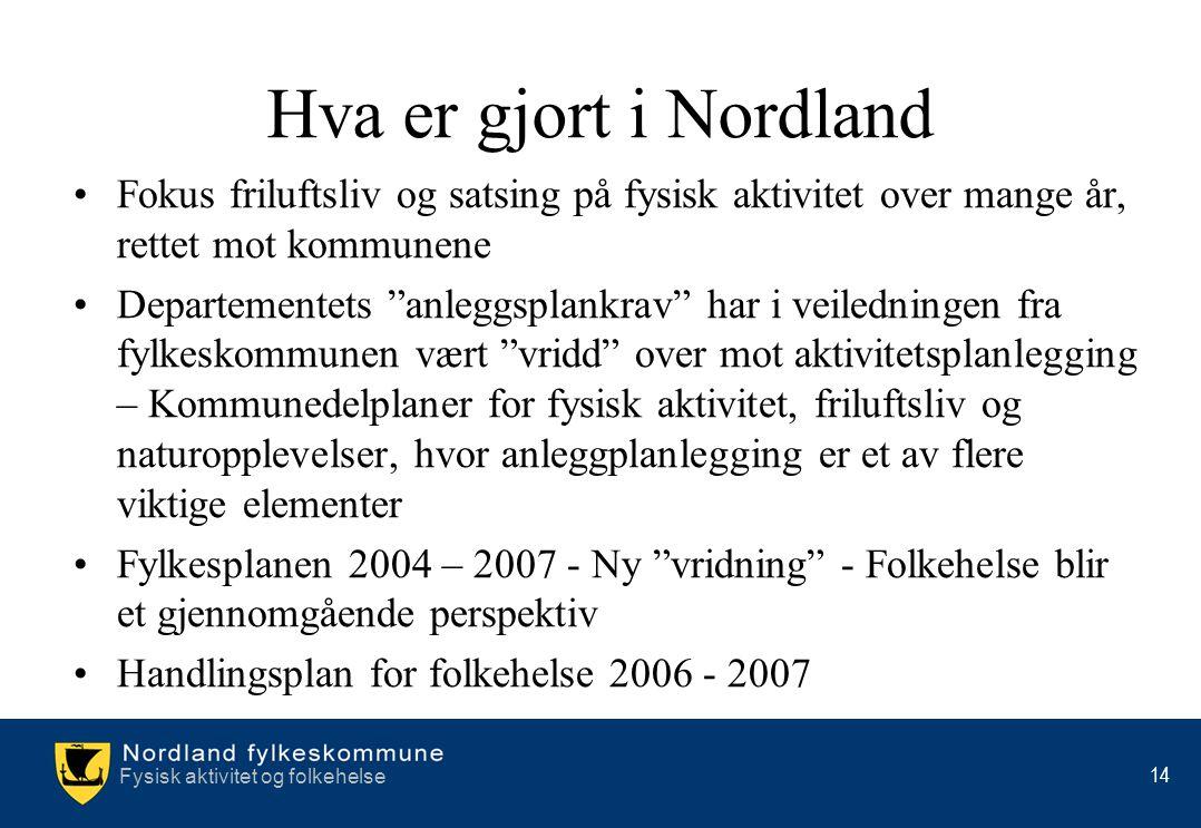 Hva er gjort i Nordland Fokus friluftsliv og satsing på fysisk aktivitet over mange år, rettet mot kommunene.