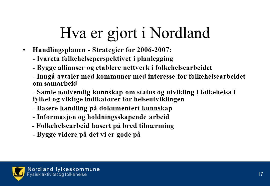 Hva er gjort i Nordland Handlingsplanen - Strategier for 2006-2007: