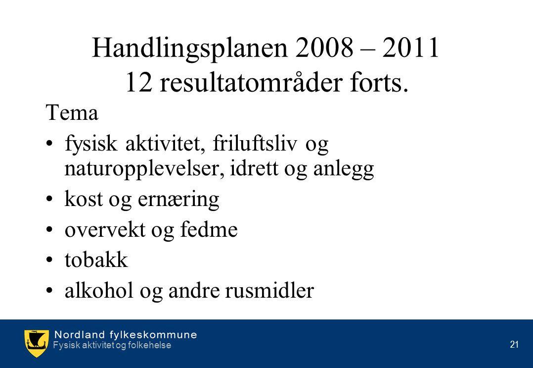 Handlingsplanen 2008 – 2011 12 resultatområder forts.
