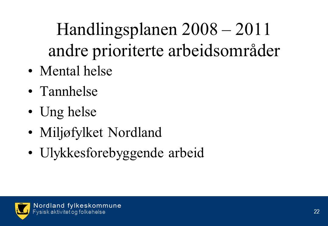 Handlingsplanen 2008 – 2011 andre prioriterte arbeidsområder