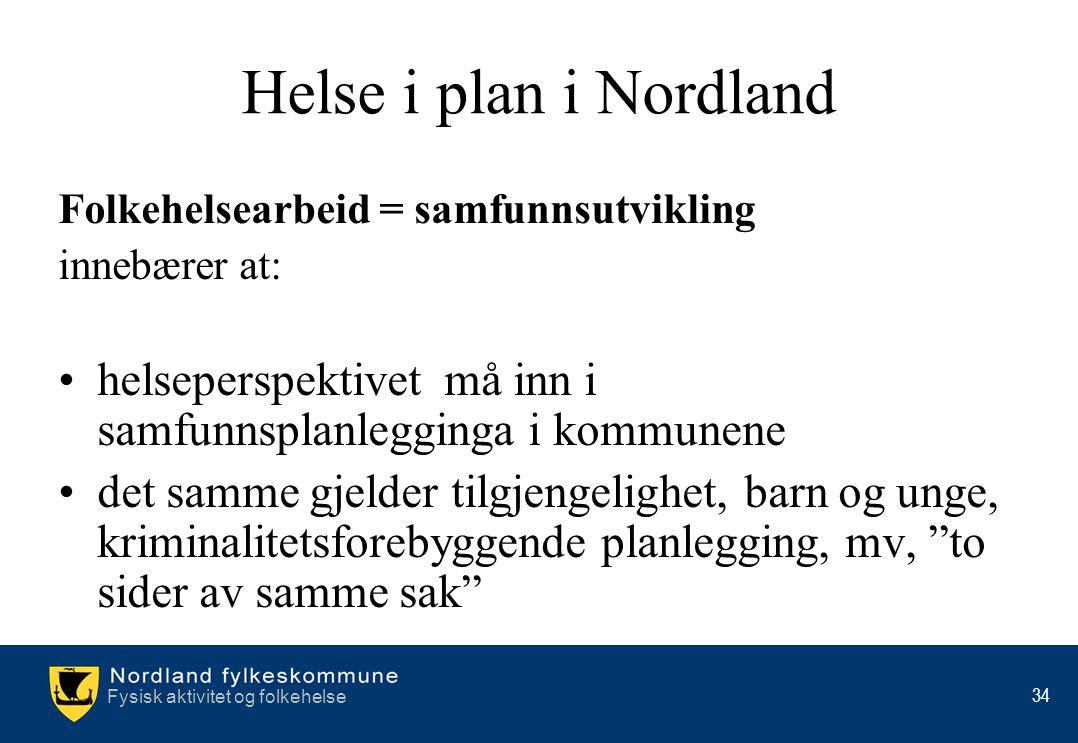 Helse i plan i Nordland Folkehelsearbeid = samfunnsutvikling. innebærer at: helseperspektivet må inn i samfunnsplanlegginga i kommunene.