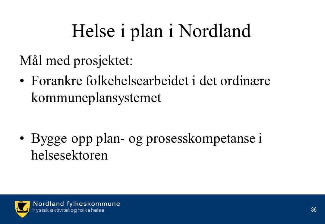 Helse i plan i Nordland Mål med prosjektet: