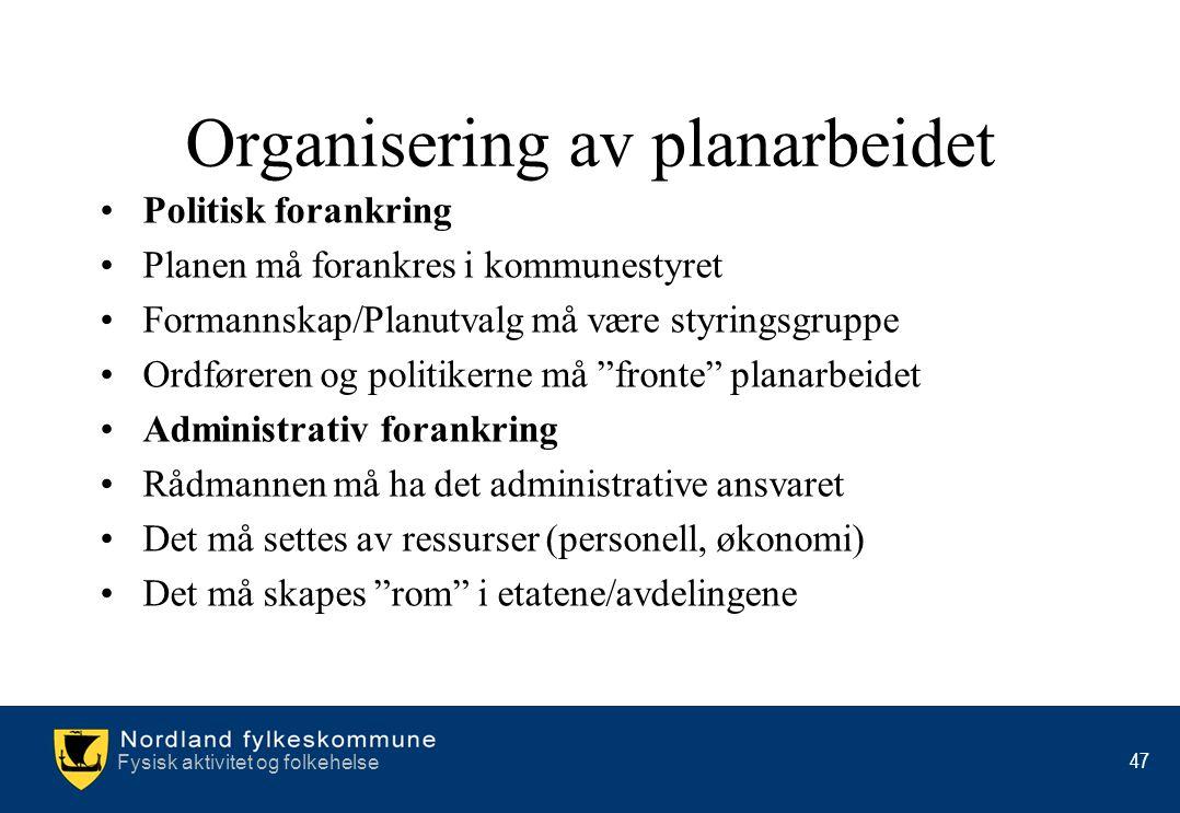 Organisering av planarbeidet