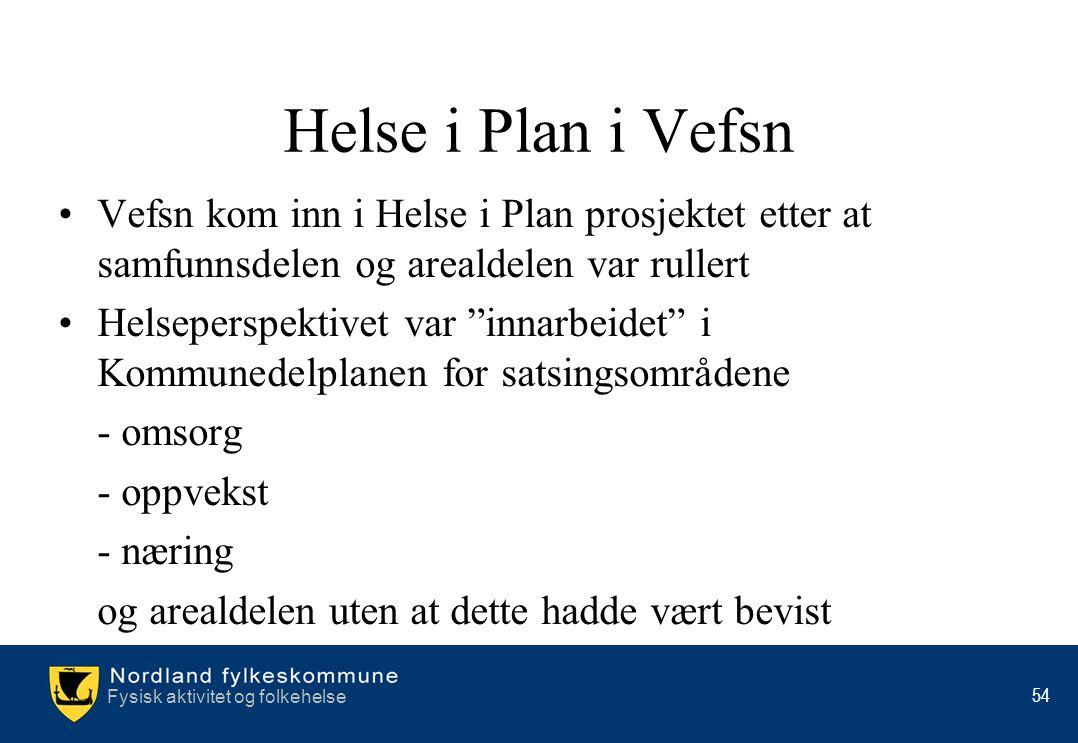 Helse i Plan i Vefsn Vefsn kom inn i Helse i Plan prosjektet etter at samfunnsdelen og arealdelen var rullert.