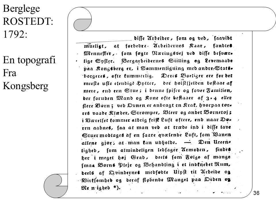 Berglege ROSTEDT: 1792: En topografi Fra Kongsberg 22 oktober 2008
