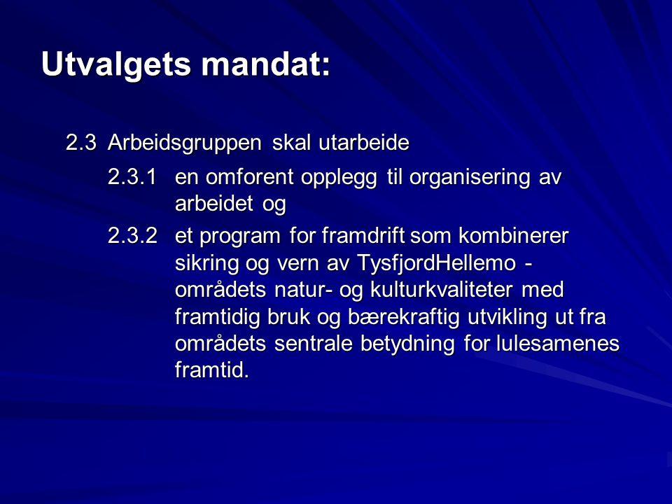 Utvalgets mandat: 2.3 Arbeidsgruppen skal utarbeide