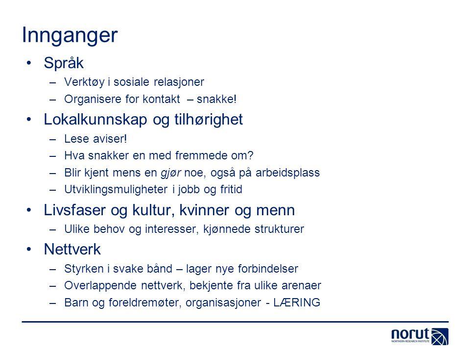 Innganger Språk Lokalkunnskap og tilhørighet
