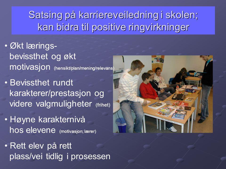 Satsing på karriereveiledning i skolen; kan bidra til positive ringvirkninger
