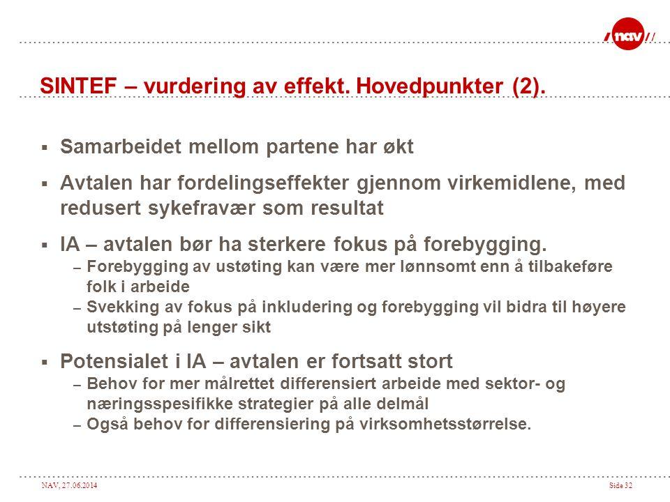 SINTEF – vurdering av effekt. Hovedpunkter (2).