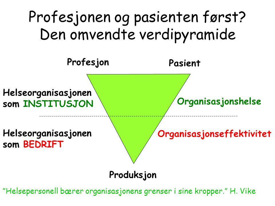 Profesjonen og pasienten først Den omvendte verdipyramide