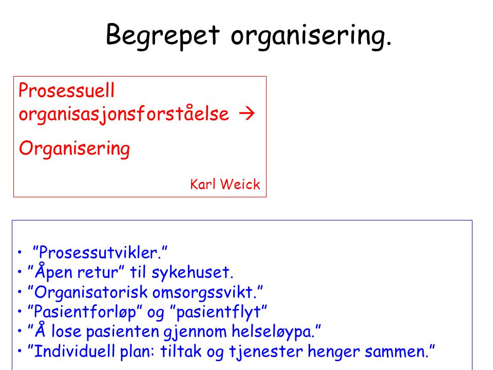 Begrepet organisering.