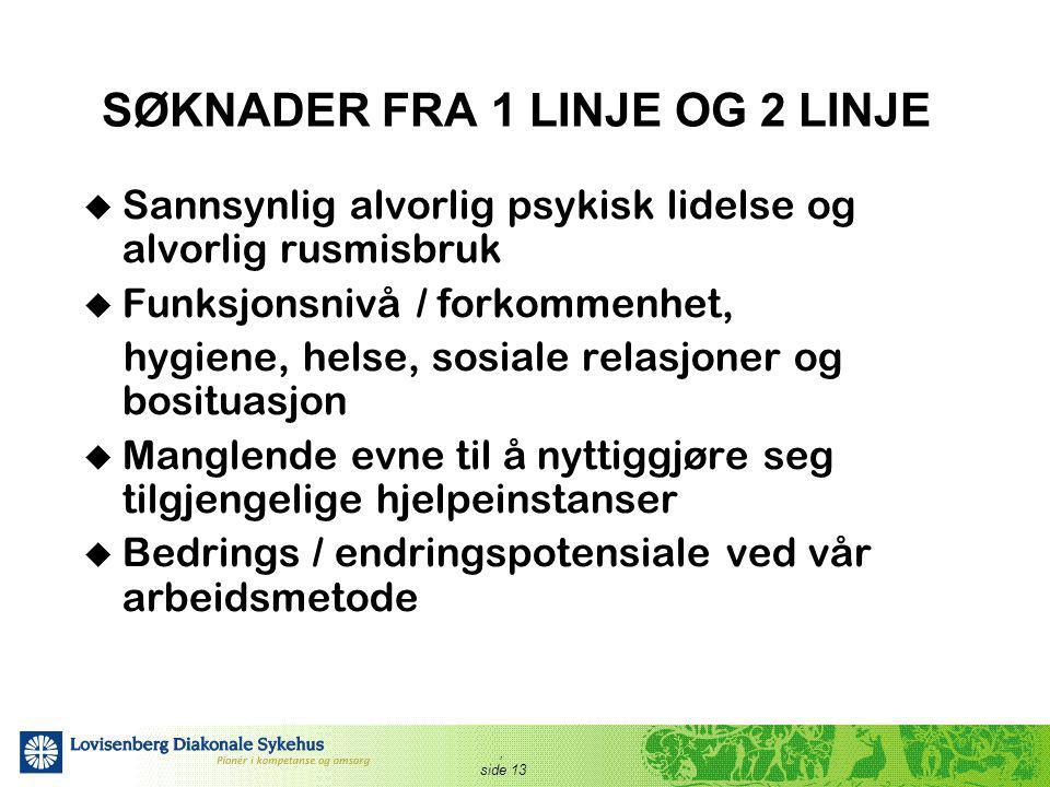 SØKNADER FRA 1 LINJE OG 2 LINJE