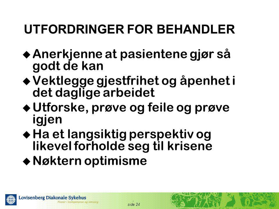 UTFORDRINGER FOR BEHANDLER