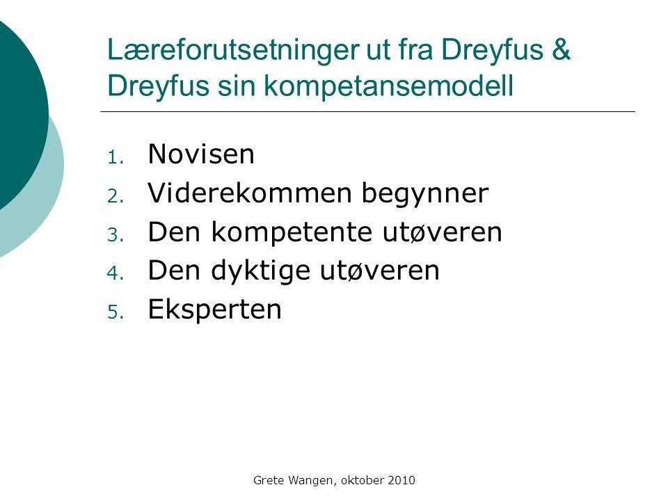 Læreforutsetninger ut fra Dreyfus & Dreyfus sin kompetansemodell