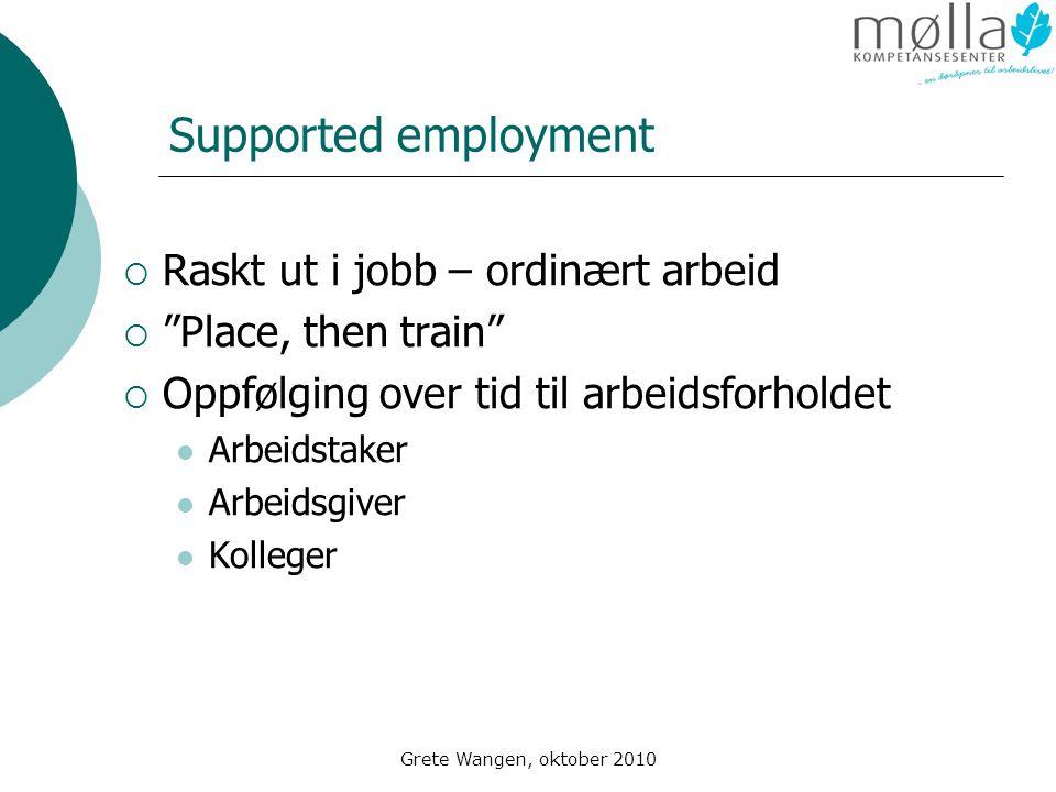 Supported employment Raskt ut i jobb – ordinært arbeid