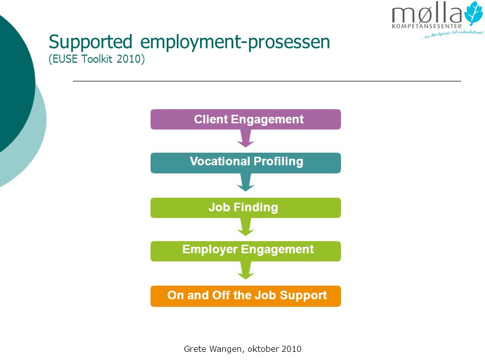 Supported employment-prosessen (EUSE Toolkit 2010)