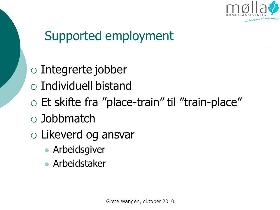 Supported employment Integrerte jobber Individuell bistand