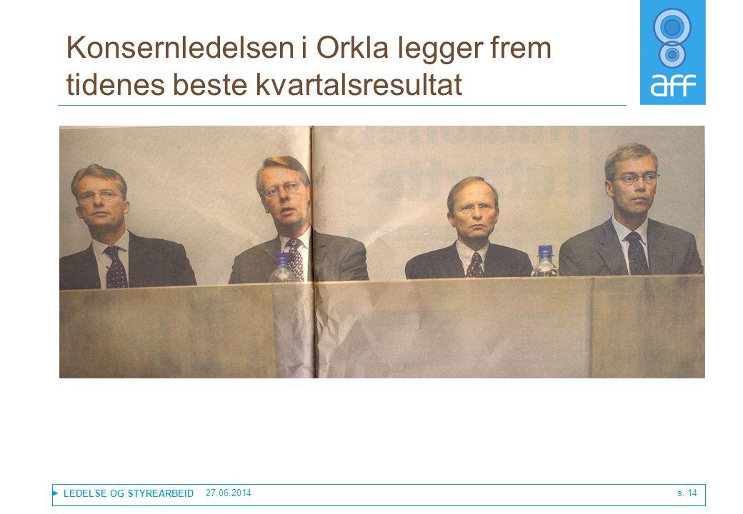 Konsernledelsen i Orkla legger frem tidenes beste kvartalsresultat