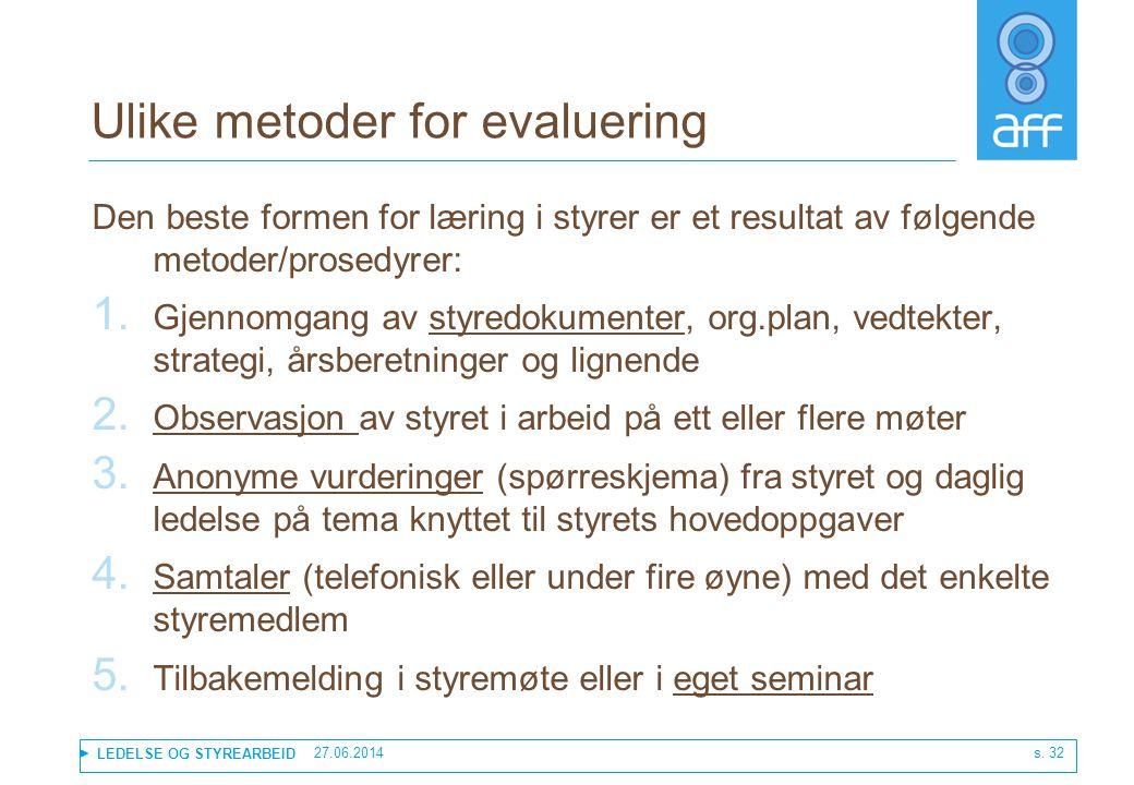 Ulike metoder for evaluering