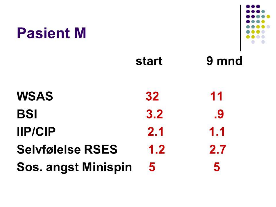Pasient M start 9 mnd WSAS 32 11 BSI 3.2 .9 IIP/CIP 2.1 1.1